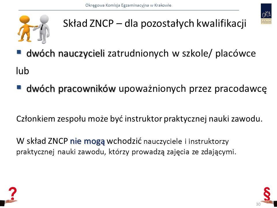 Okręgowa Komisja Egzaminacyjna w Krakowie Skład ZNCP – dla pozostałych kwalifikacji  dwóch nauczycieli  dwóch nauczycieli zatrudnionych w szkole/ placówce lub  dwóch pracowników  dwóch pracowników upoważnionych przez pracodawcę Członkiem zespołu może być instruktor praktycznej nauki zawodu.