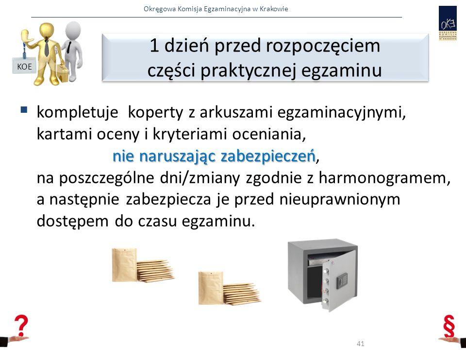 Okręgowa Komisja Egzaminacyjna w Krakowie nie naruszając zabezpieczeń  kompletuje koperty z arkuszami egzaminacyjnymi, kartami oceny i kryteriami oceniania, nie naruszając zabezpieczeń, na poszczególne dni/zmiany zgodnie z harmonogramem, a następnie zabezpiecza je przed nieuprawnionym dostępem do czasu egzaminu.
