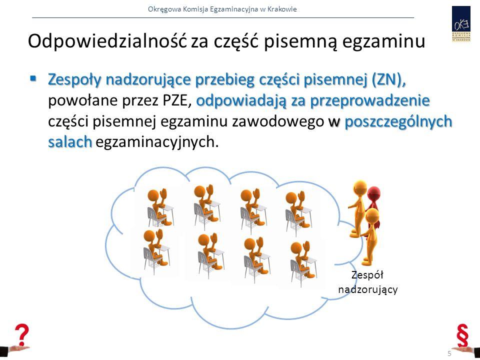 Okręgowa Komisja Egzaminacyjna w Krakowie Odpowiedzialność za część pisemną egzaminu 5  Zespoły nadzorujące przebieg części pisemnej (ZN), odpowiadają za przeprowadzenie w poszczególnych salach  Zespoły nadzorujące przebieg części pisemnej (ZN), powołane przez PZE, odpowiadają za przeprowadzenie części pisemnej egzaminu zawodowego w poszczególnych salach egzaminacyjnych.