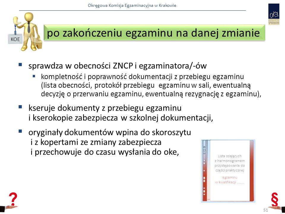 Okręgowa Komisja Egzaminacyjna w Krakowie po zakończeniu egzaminu na danej zmianie  sprawdza w obecności ZNCP i egzaminatora/-ów  kompletność i poprawność dokumentacji z przebiegu egzaminu (lista obecności, protokół przebiegu egzaminu w sali, ewentualną decyzję o przerwaniu egzaminu, ewentualną rezygnację z egzaminu),  kseruje dokumenty z przebiegu egzaminu i kserokopie zabezpiecza w szkolnej dokumentacji,  oryginały dokumentów wpina do skoroszytu i z kopertami ze zmiany zabezpiecza i przechowuje do czasu wysłania do oke, 51 KOE 4 Lista zdających z harmonogramem przystępowania do części praktycznej egzaminu w kwalifikacji ……..