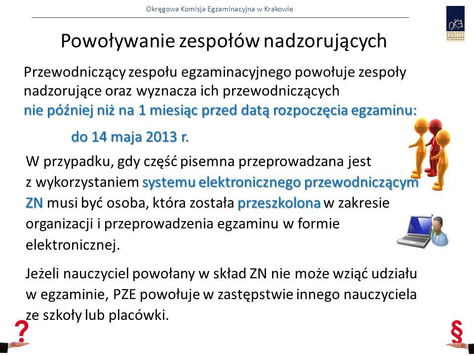 Okręgowa Komisja Egzaminacyjna w Krakowie  nie później niż 30 dni przed egzaminem:  powołuje zespoły nadzorujące część praktyczną egzaminu w poszczególnych salach/miejscach egzaminu, 27 przed egzaminem KOE