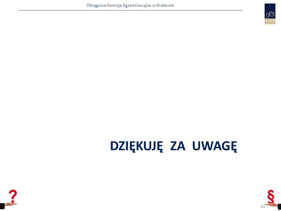 Okręgowa Komisja Egzaminacyjna w Krakowie DZIĘKUJĘ ZA UWAGĘ 60