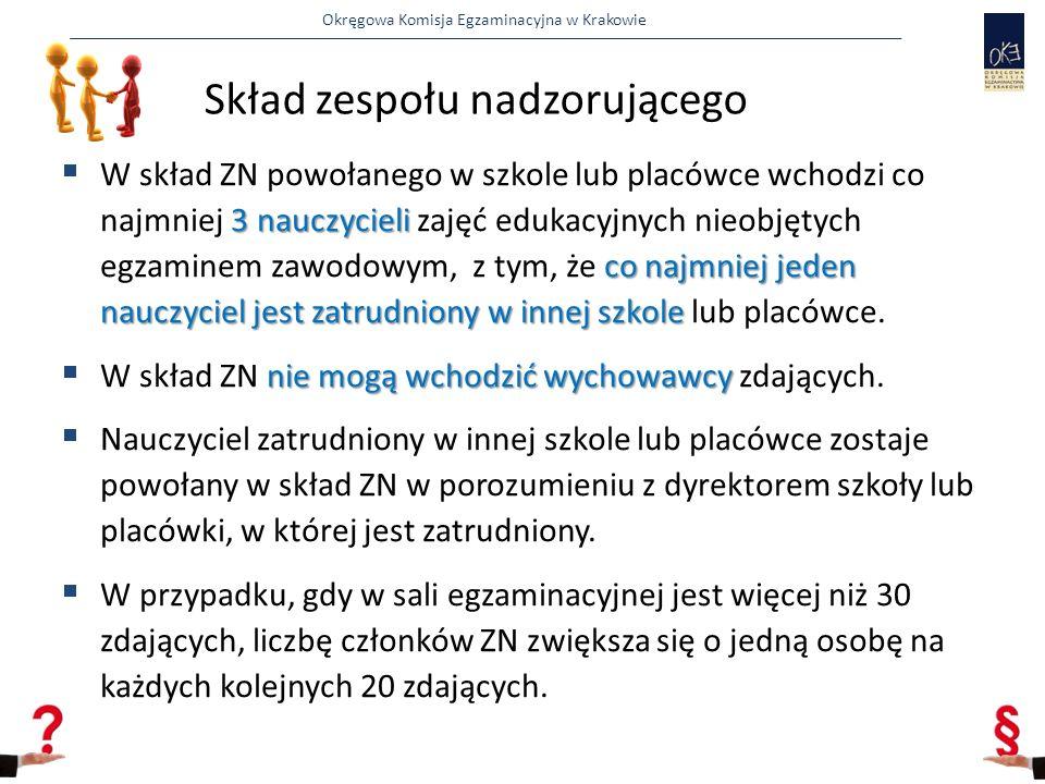 Okręgowa Komisja Egzaminacyjna w Krakowie Rozpoczęcie egzaminu 11.00 Odprawa z członkami SZE Przekazanie PZN dokumentacji Sprawdzenie dokumentu tożsamości i upoważnienia obserwatora 11.30 Ewentualne uzupełnienie składów ZN Wpuszczanie zdających do sal Przekazanie kart odpowiedzi i arkuszy egzaminacyjnych do sal 12.00 Rozdanie kart odpowiedzi i arkuszy egzaminacyjnych zdającym Sprawdzenie kompletności arkuszy egzaminacyjnych Ewentualna wymiana arkuszy lub po uzyskaniu zgody Dyr.