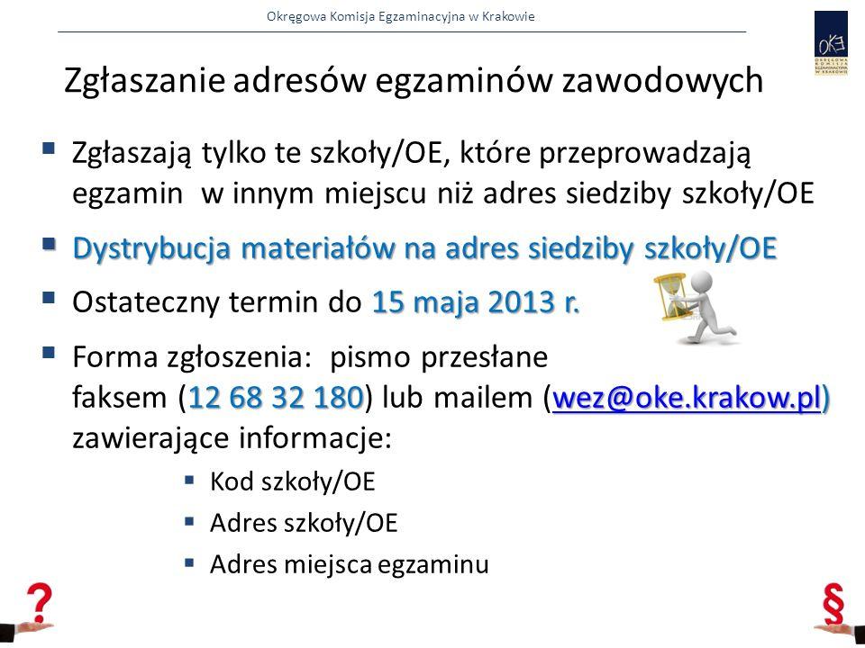 Okręgowa Komisja Egzaminacyjna w Krakowie  Zgłaszają tylko te szkoły/OE, które przeprowadzają egzamin w innym miejscu niż adres siedziby szkoły/OE  Dystrybucja materiałów na adres siedziby szkoły/OE 15 maja 2013 r.