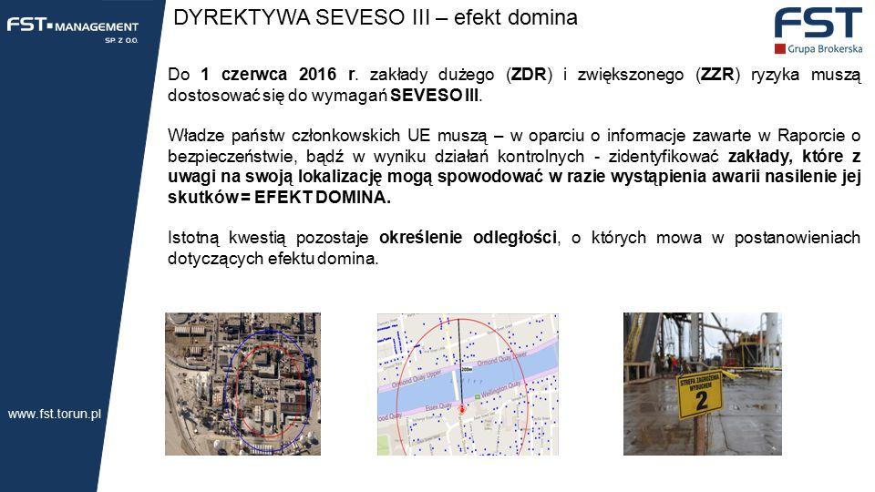 DYREKTYWA SEVESO III – efekt domina Do 1 czerwca 2016 r.