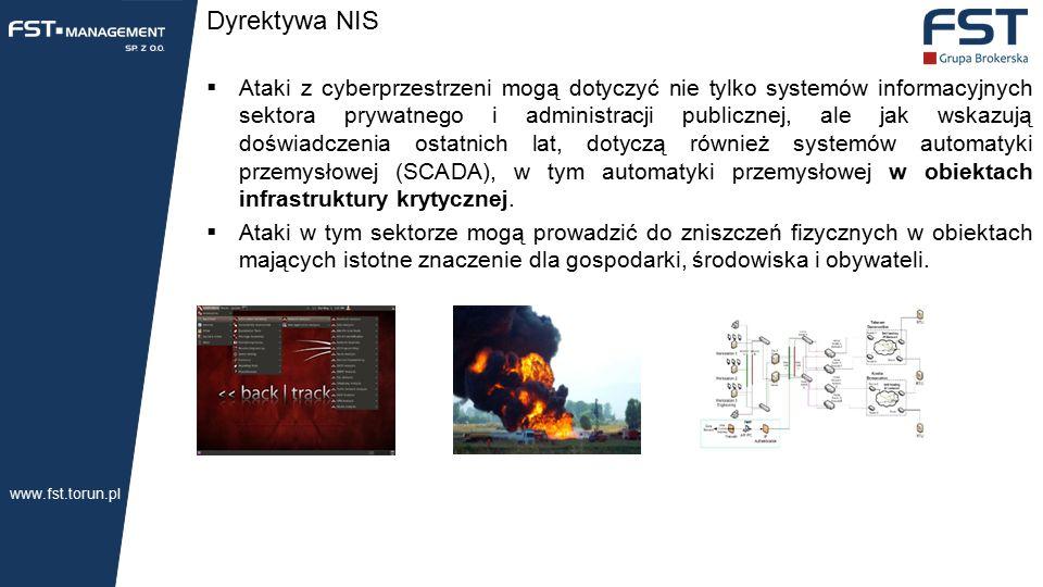Dyrektywa NIS  Ataki z cyberprzestrzeni mogą dotyczyć nie tylko systemów informacyjnych sektora prywatnego i administracji publicznej, ale jak wskazują doświadczenia ostatnich lat, dotyczą również systemów automatyki przemysłowej (SCADA), w tym automatyki przemysłowej w obiektach infrastruktury krytycznej.
