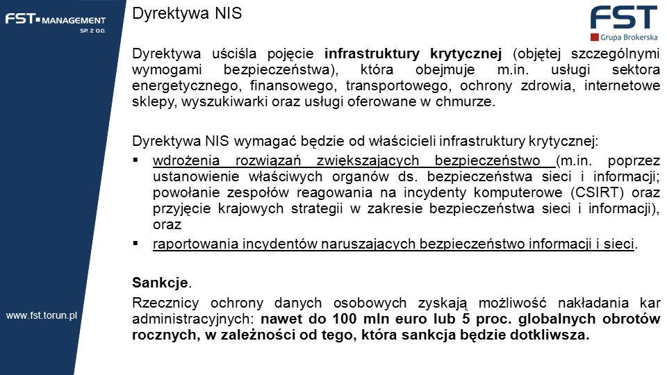 Dyrektywa NIS Dyrektywa uściśla pojęcie infrastruktury krytycznej (objętej szczególnymi wymogami bezpieczeństwa), która obejmuje m.in.