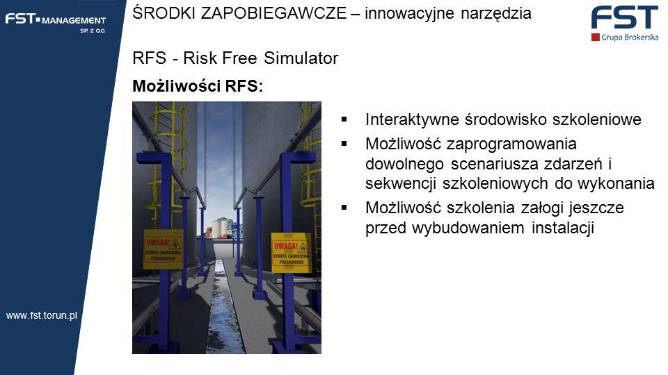 ŚRODKI ZAPOBIEGAWCZE – innowacyjne narzędzia RFS - Risk Free Simulator Możliwości RFS:  Interaktywne środowisko szkoleniowe  Możliwość zaprogramowania dowolnego scenariusza zdarzeń i sekwencji szkoleniowych do wykonania  Możliwość szkolenia załogi jeszcze przed wybudowaniem instalacji www.fst.torun.pl