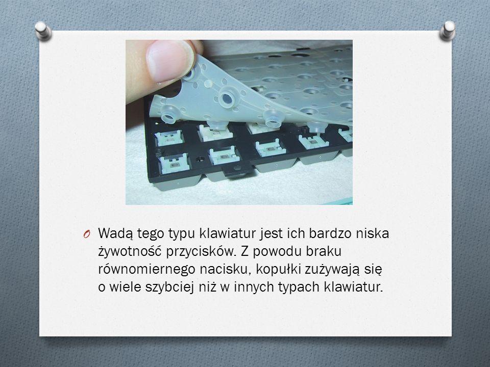 O Wadą tego typu klawiatur jest ich bardzo niska żywotność przycisków.