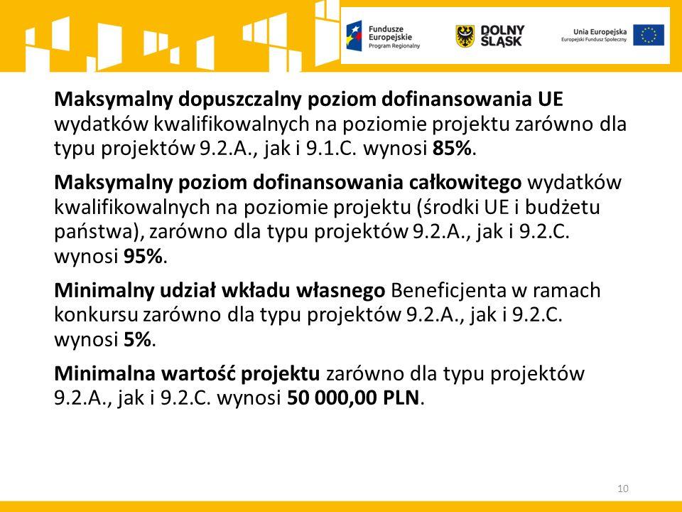 Maksymalny dopuszczalny poziom dofinansowania UE wydatków kwalifikowalnych na poziomie projektu zarówno dla typu projektów 9.2.A., jak i 9.1.C. wynosi