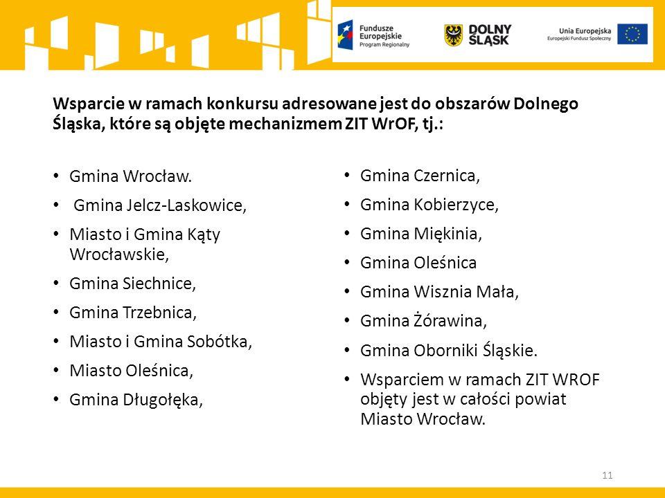 Wsparcie w ramach konkursu adresowane jest do obszarów Dolnego Śląska, które są objęte mechanizmem ZIT WrOF, tj.: Gmina Wrocław. Gmina Jelcz-Laskowice
