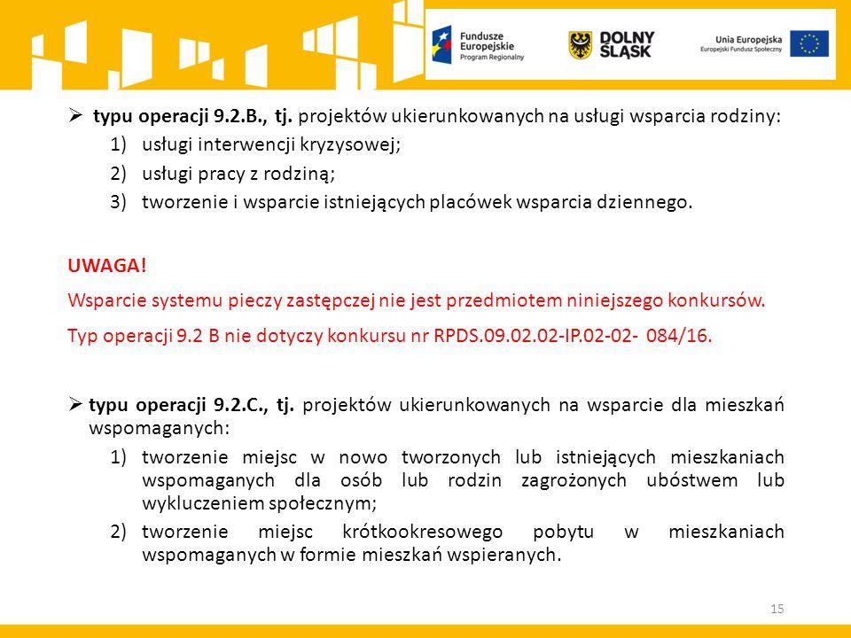  typu operacji 9.2.B., tj. projektów ukierunkowanych na usługi wsparcia rodziny: 1)usługi interwencji kryzysowej; 2)usługi pracy z rodziną; 3)tworzen