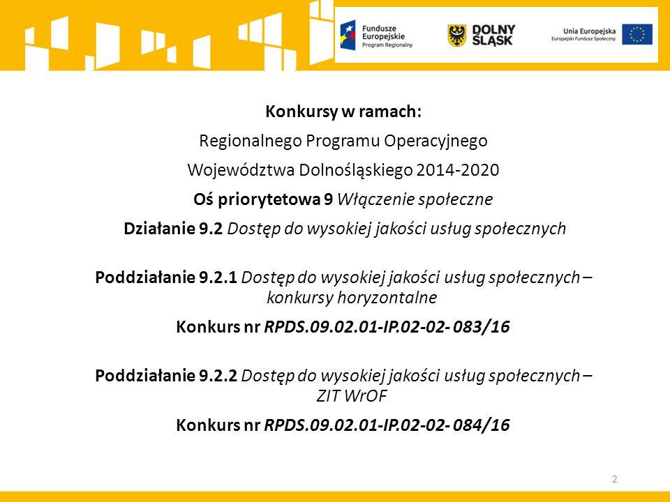 Konkursy w ramach: Regionalnego Programu Operacyjnego Województwa Dolnośląskiego 2014-2020 Oś priorytetowa 9 Włączenie społeczne Działanie 9.2 Dostęp
