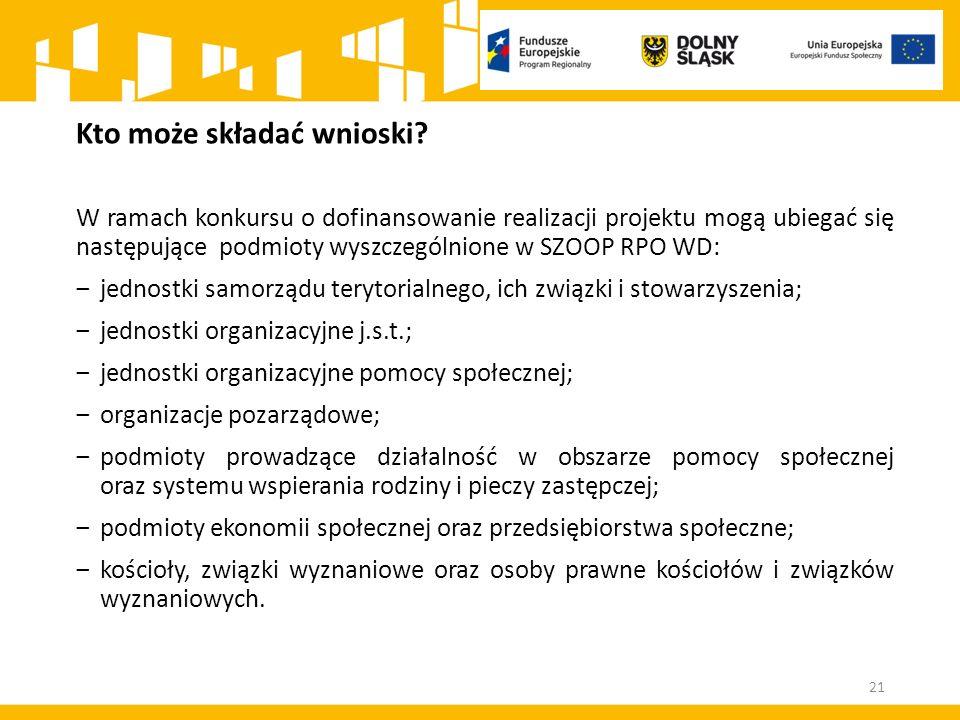 21 Kto może składać wnioski? W ramach konkursu o dofinansowanie realizacji projektu mogą ubiegać się następujące podmioty wyszczególnione w SZOOP RPO