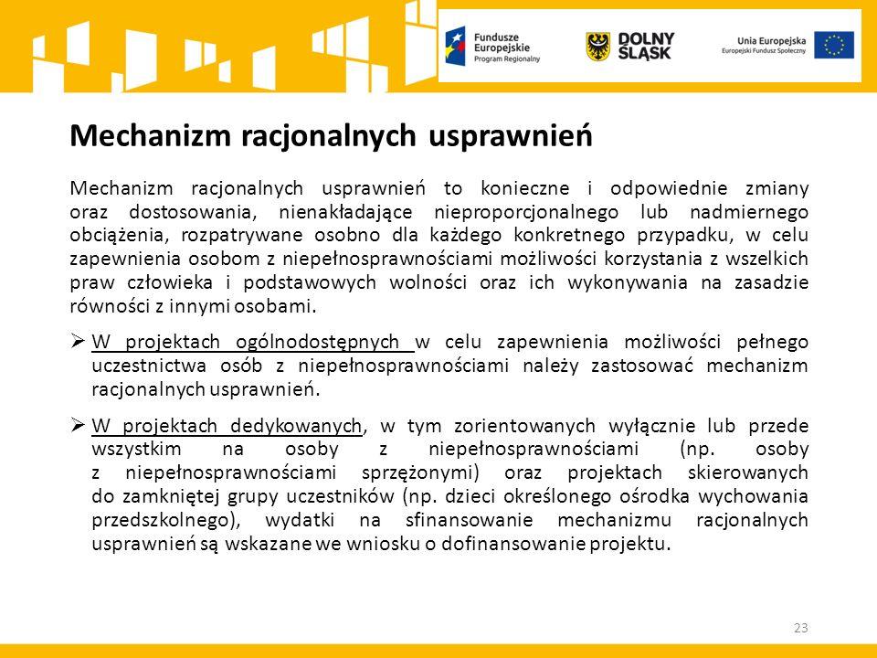 Mechanizm racjonalnych usprawnień 23 Mechanizm racjonalnych usprawnień to konieczne i odpowiednie zmiany oraz dostosowania, nienakładające nieproporcj