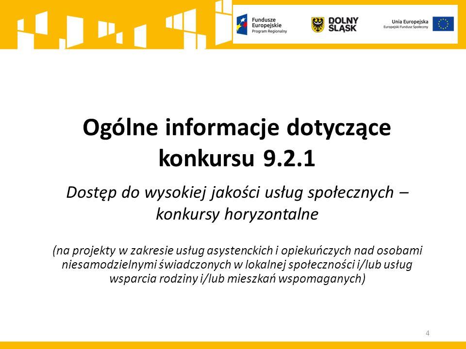 Ogólne informacje dotyczące konkursu 9.2.1 Dostęp do wysokiej jakości usług społecznych – konkursy horyzontalne (na projekty w zakresie usług asystenc