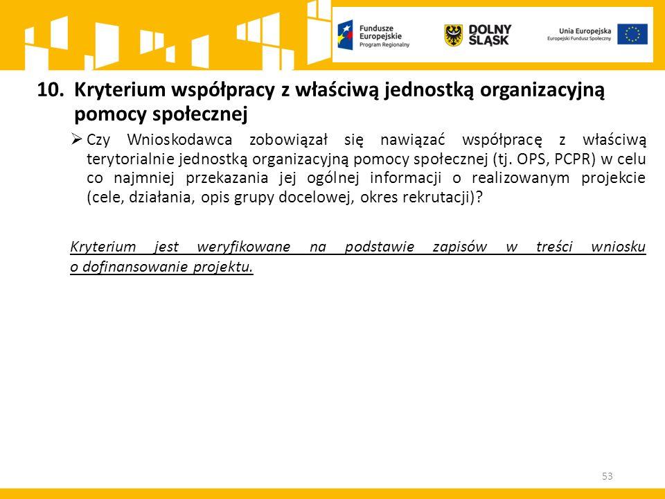 10.Kryterium współpracy z właściwą jednostką organizacyjną pomocy społecznej  Czy Wnioskodawca zobowiązał się nawiązać współpracę z właściwą terytori