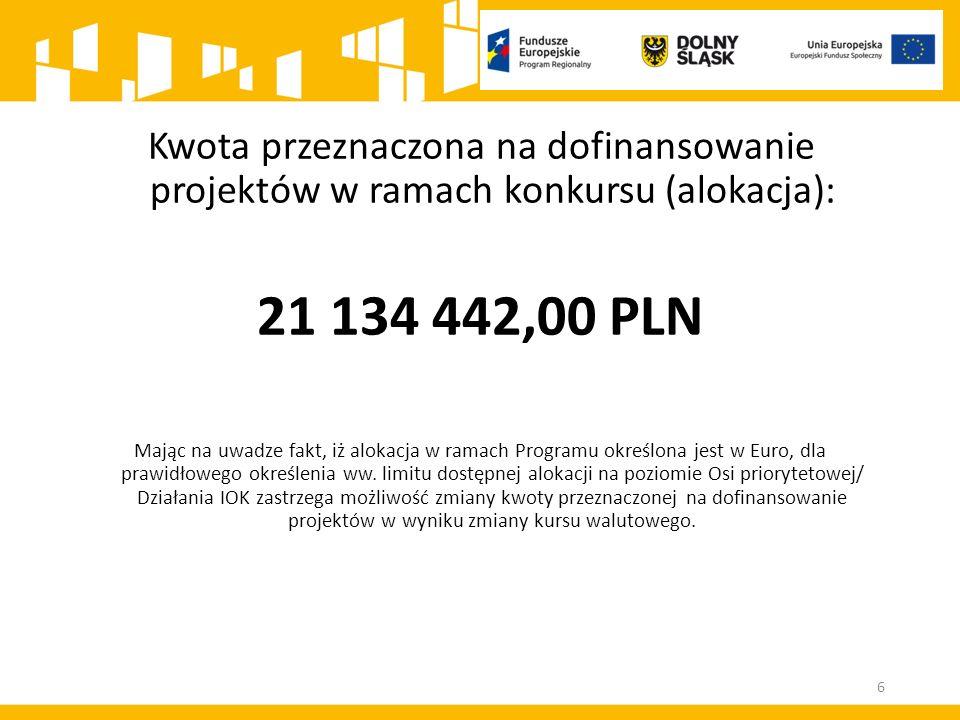Kwota przeznaczona na dofinansowanie projektów w ramach konkursu (alokacja): 21 134 442,00 PLN Mając na uwadze fakt, iż alokacja w ramach Programu okr