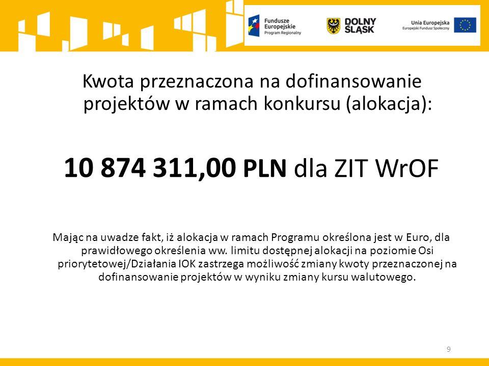 Kwota przeznaczona na dofinansowanie projektów w ramach konkursu (alokacja): 10 874 311,00 PLN dla ZIT WrOF Mając na uwadze fakt, iż alokacja w ramach