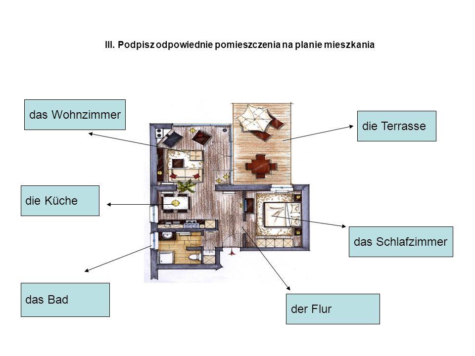 III. Podpisz odpowiednie pomieszczenia na planie mieszkania der Flur das Schlafzimmer die Terrasse das Bad die Küche das Wohnzimmer