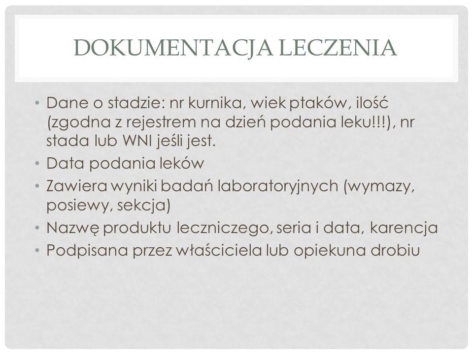 DOKUMENTACJA LECZENIA Dane o stadzie: nr kurnika, wiek ptaków, ilość (zgodna z rejestrem na dzień podania leku!!!), nr stada lub WNI jeśli jest.