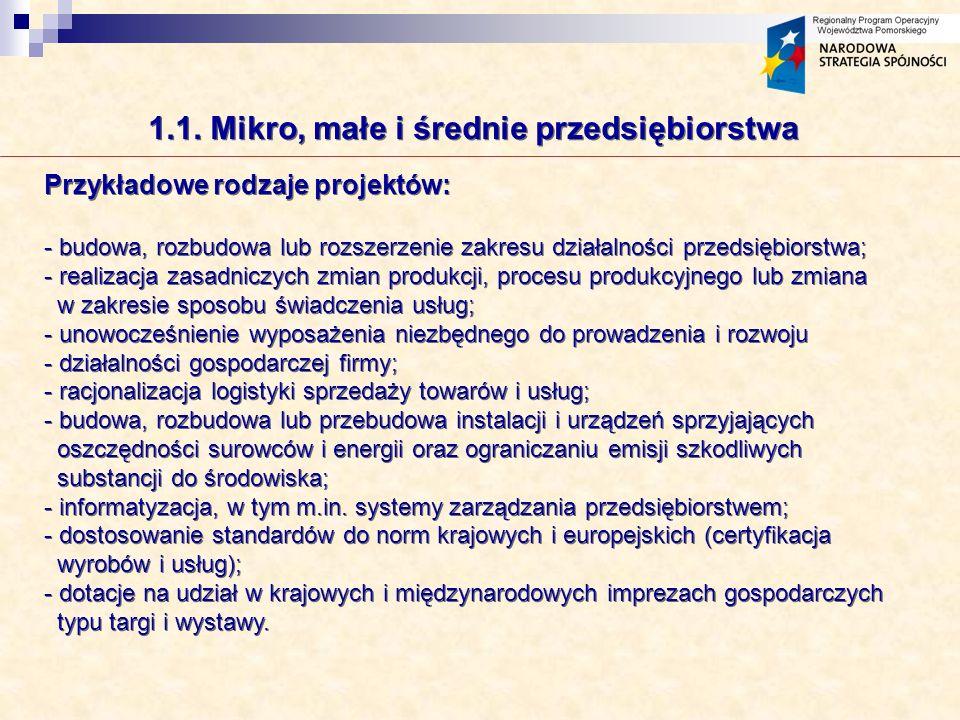 1.1. Mikro, małe i średnie przedsiębiorstwa Przykładowe rodzaje projektów: - budowa, rozbudowa lub rozszerzenie zakresu działalności przedsiębiorstwa;