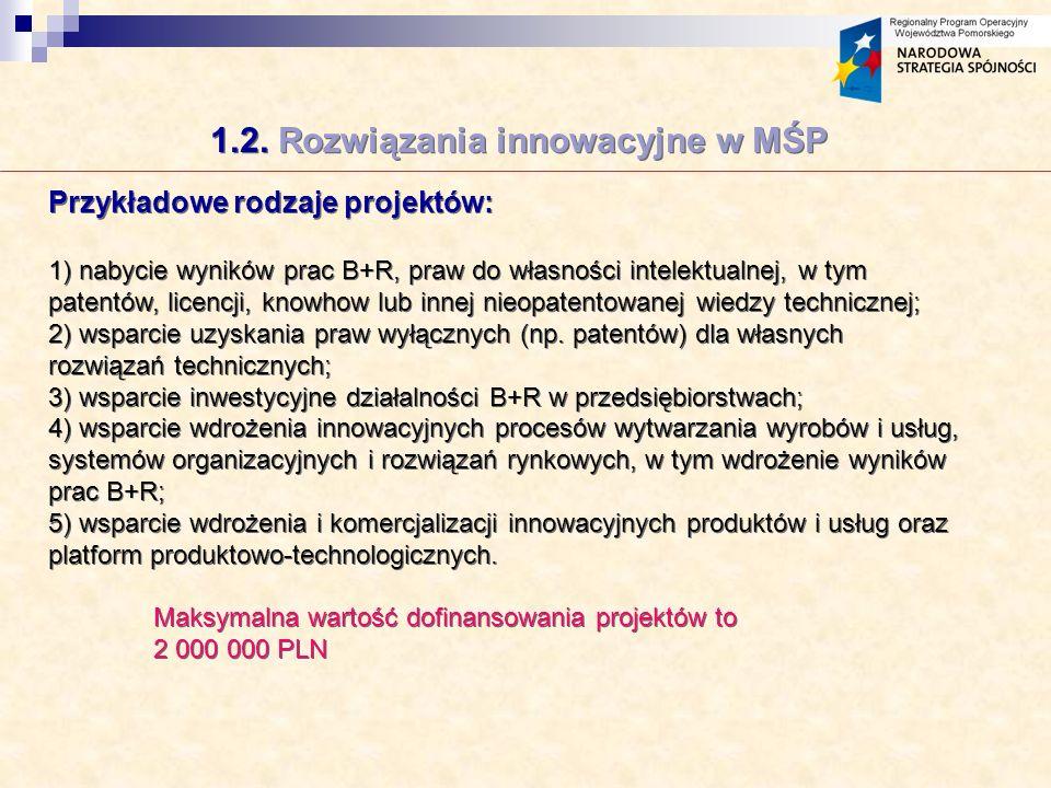 1.2. Rozwiązania innowacyjne w MŚP Przykładowe rodzaje projektów: 1) nabycie wyników prac B+R, praw do własności intelektualnej, w tym patentów, licen