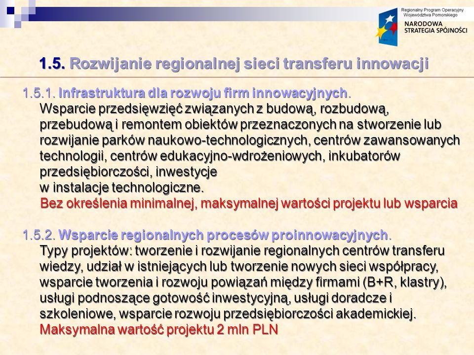 1.5. Rozwijanie regionalnej sieci transferu innowacji 1.5.1.