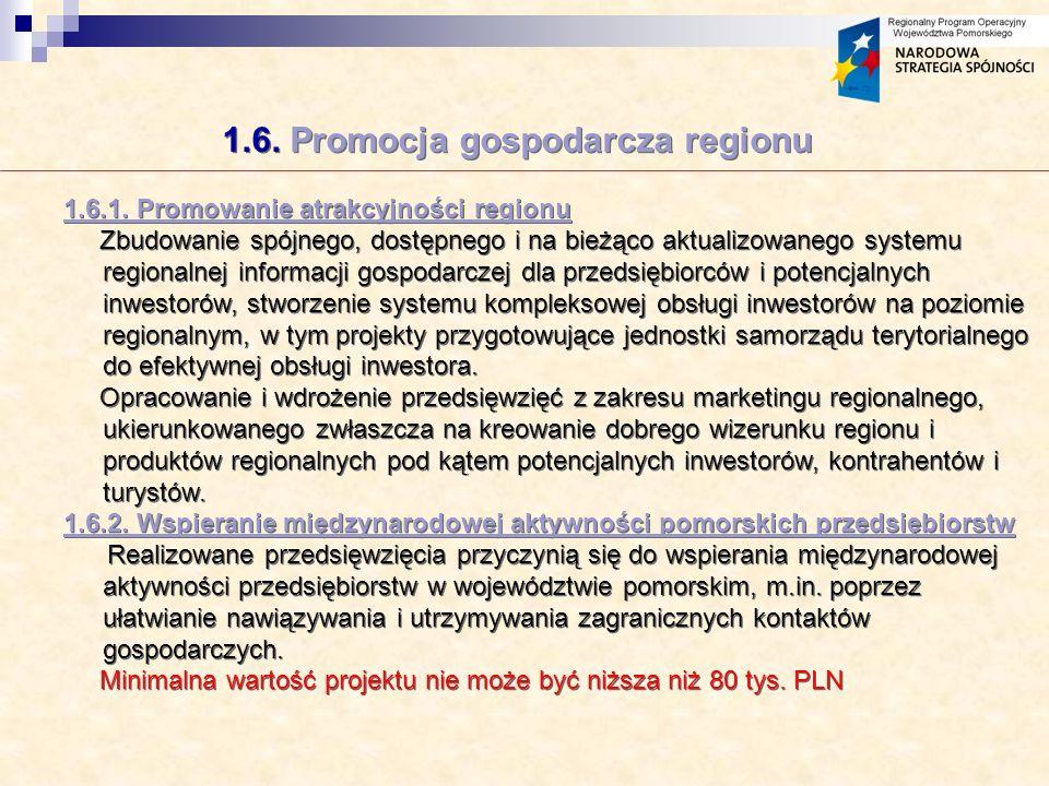 1.6. Promocja gospodarcza regionu 1.6.1.