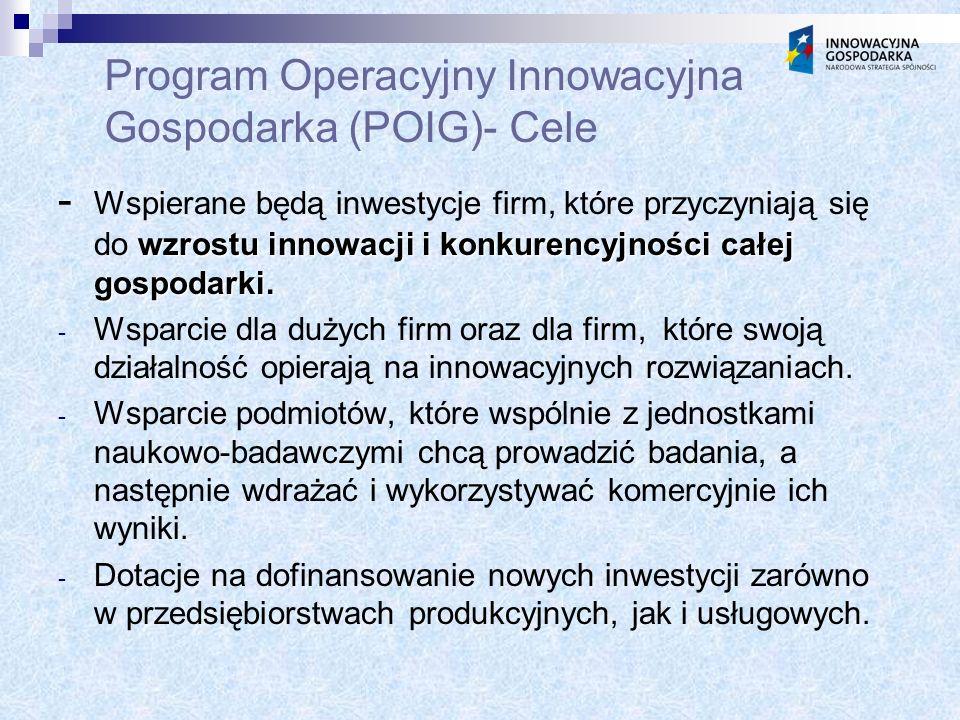 Program Operacyjny Innowacyjna Gospodarka (POIG)- Cele wzrostu innowacji i konkurencyjności całej gospodarki.