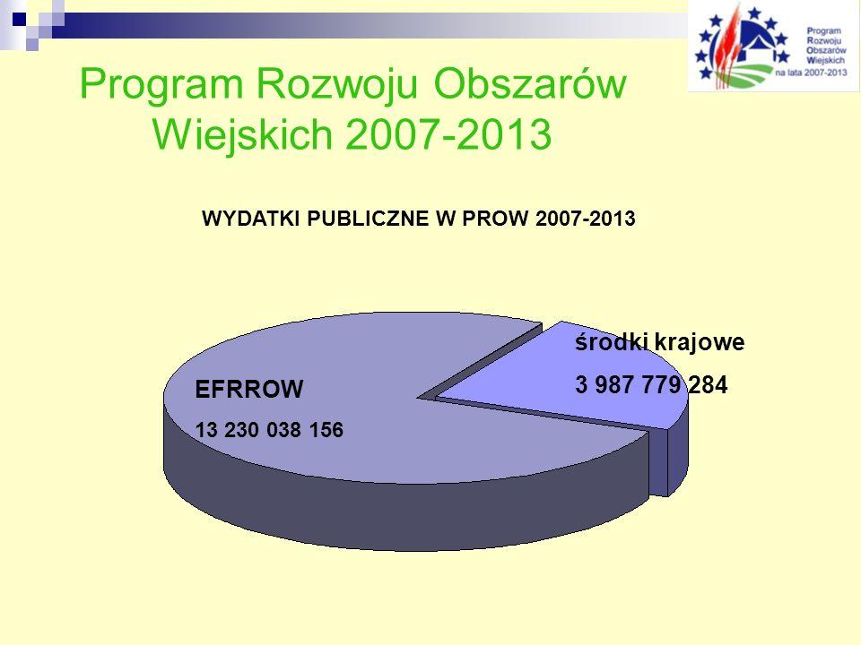 Program Rozwoju Obszarów Wiejskich 2007-2013 WYDATKI PUBLICZNE W PROW 2007-2013 środki krajowe 3 987 779 284 EFRROW 13 230 038 156