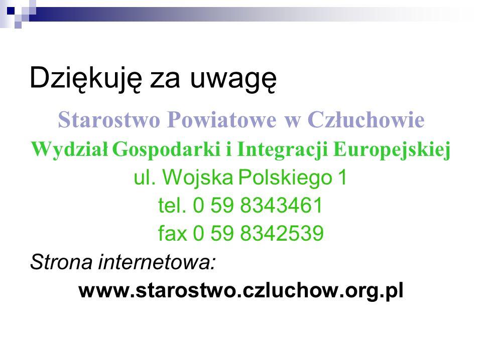 Dziękuję za uwagę Starostwo Powiatowe w Człuchowie Wydział Gospodarki i Integracji Europejskiej ul.
