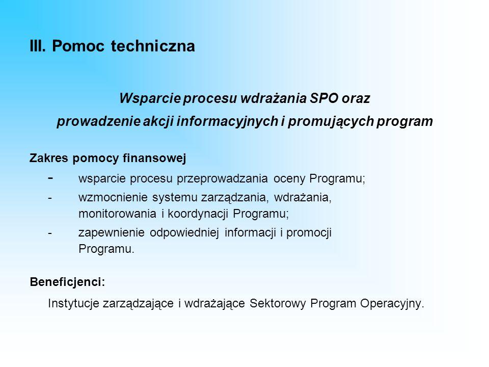 III. Pomoc techniczna Wsparcie procesu wdrażania SPO oraz prowadzenie akcji informacyjnych i promujących program Zakres pomocy finansowej - wsparcie p