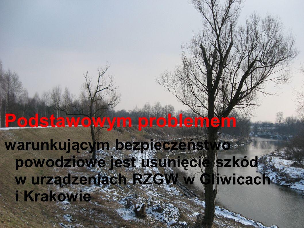 Podstawowym problemem warunkującym bezpieczeństwo powodziowe jest usunięcie szkód w urządzeniach RZGW w Gliwicach i Krakowie