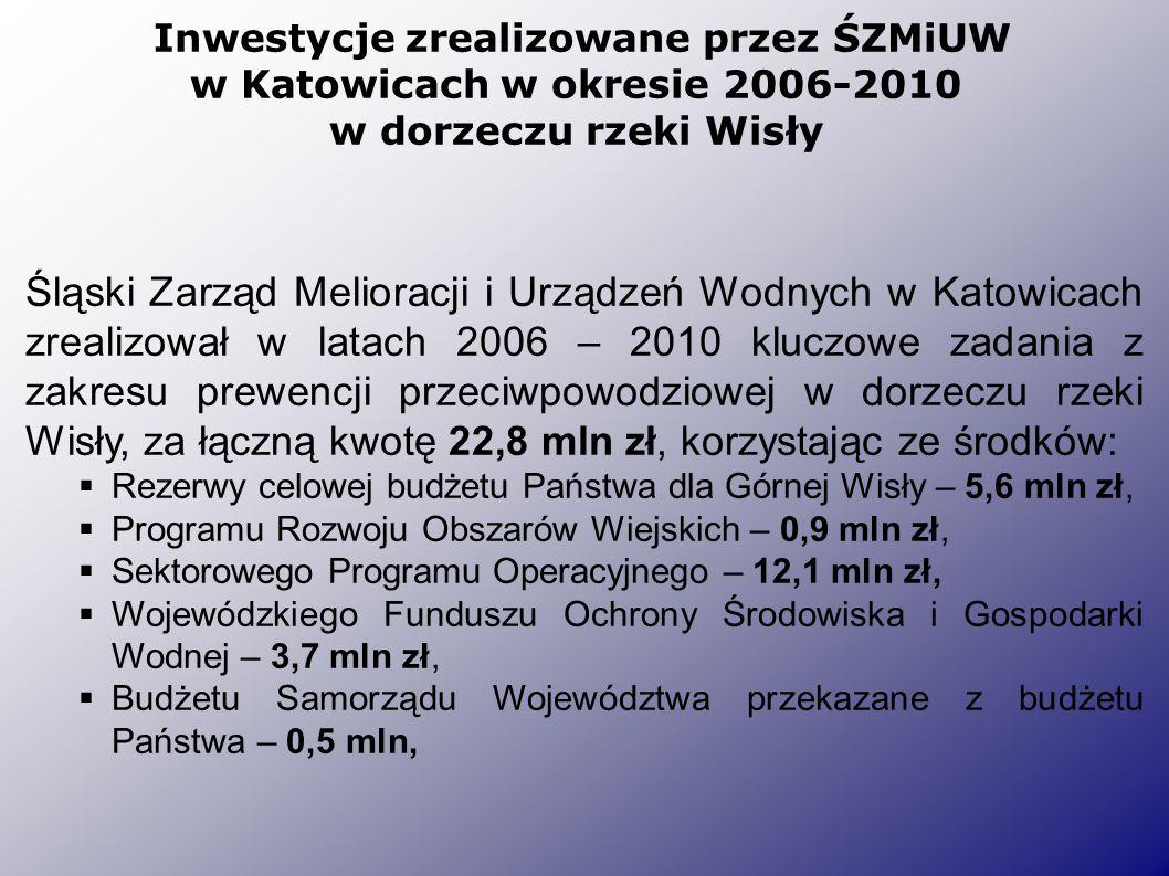 Inwestycje zrealizowane przez ŚZMiUW w Katowicach w okresie 2006-2010 w dorzeczu rzeki Wisły Śląski Zarząd Melioracji i Urządzeń Wodnych w Katowicach zrealizował w latach 2006 – 2010 kluczowe zadania z zakresu prewencji przeciwpowodziowej w dorzeczu rzeki Wisły, za łączną kwotę 22,8 mln zł, korzystając ze środków:  Rezerwy celowej budżetu Państwa dla Górnej Wisły – 5,6 mln zł,  Programu Rozwoju Obszarów Wiejskich – 0,9 mln zł,  Sektorowego Programu Operacyjnego – 12,1 mln zł,  Wojewódzkiego Funduszu Ochrony Środowiska i Gospodarki Wodnej – 3,7 mln zł,  Budżetu Samorządu Województwa przekazane z budżetu Państwa – 0,5 mln,