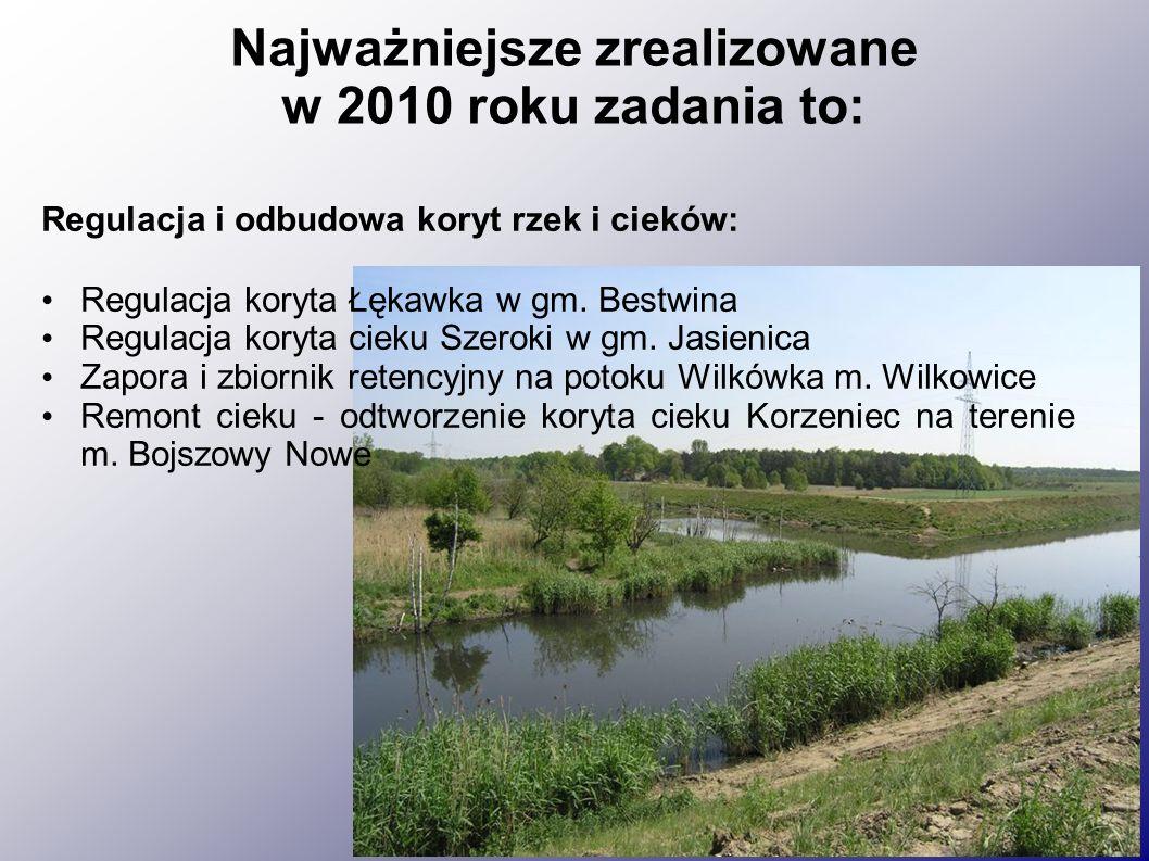 Najważniejsze zrealizowane w 2010 roku zadania to: Regulacja i odbudowa koryt rzek i cieków: Regulacja koryta Łękawka w gm.