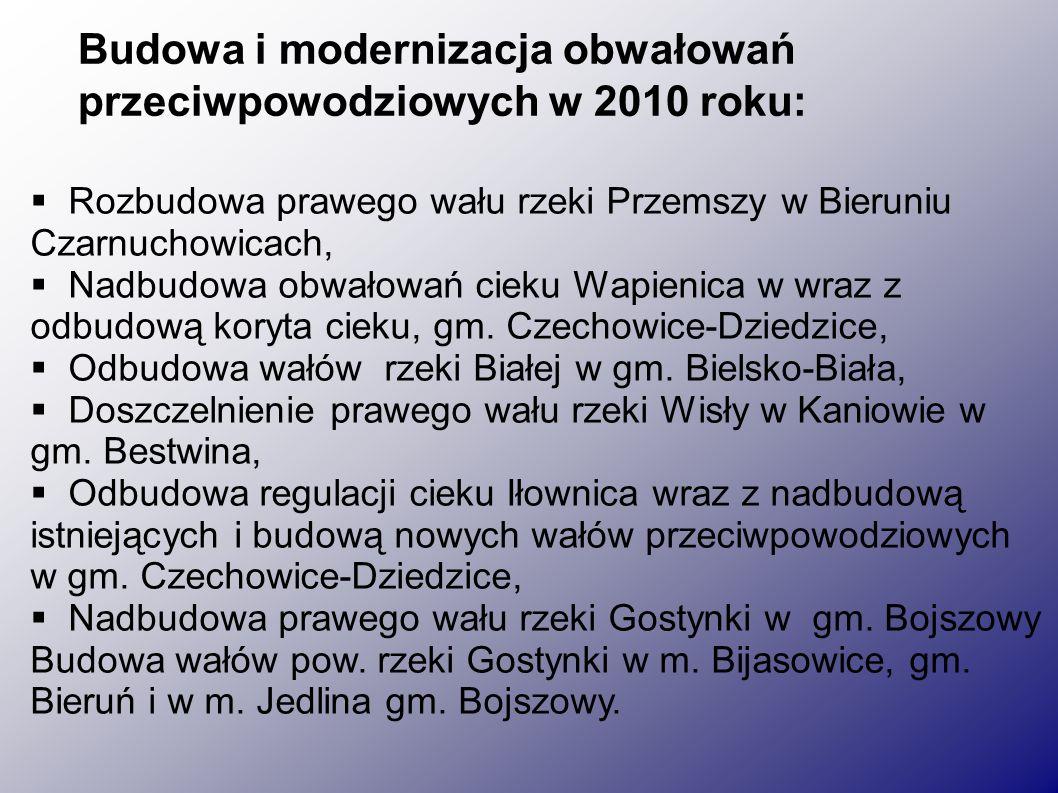  Rozbudowa prawego wału rzeki Przemszy w Bieruniu Czarnuchowicach,  Nadbudowa obwałowań cieku Wapienica w wraz z odbudową koryta cieku, gm.