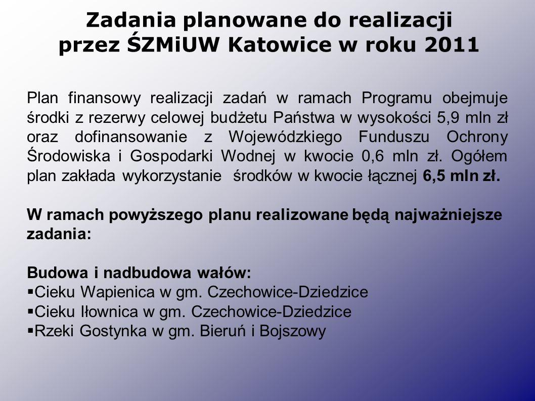 Zadania planowane do realizacji przez ŚZMiUW Katowice w roku 2011 Plan finansowy realizacji zadań w ramach Programu obejmuje środki z rezerwy celowej budżetu Państwa w wysokości 5,9 mln zł oraz dofinansowanie z Wojewódzkiego Funduszu Ochrony Środowiska i Gospodarki Wodnej w kwocie 0,6 mln zł.