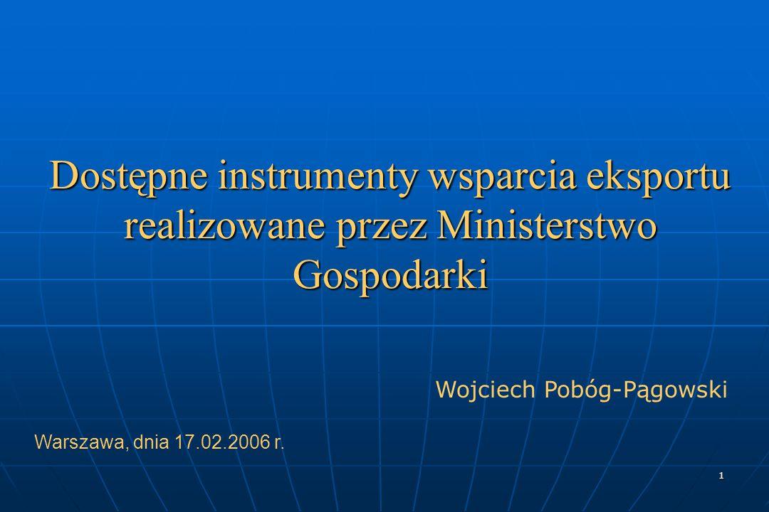 1 Dostępne instrumenty wsparcia eksportu realizowane przez Ministerstwo Gospodarki Warszawa, dnia 17.02.2006 r.