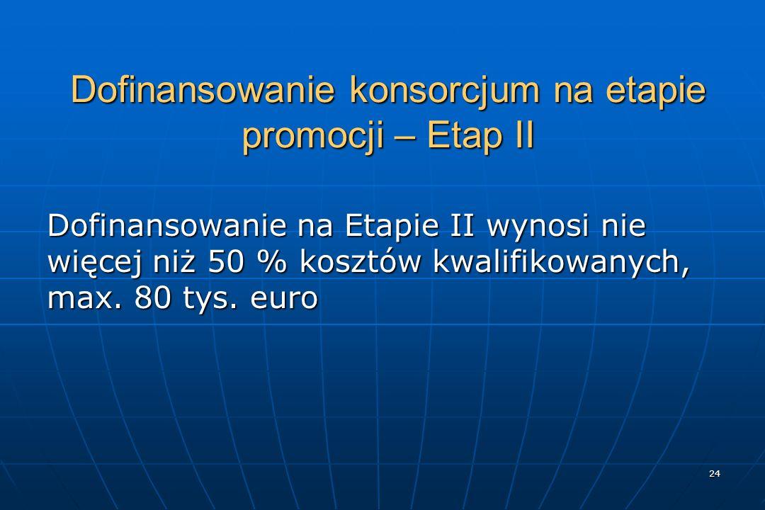 24 Dofinansowanie konsorcjum na etapie promocji – Etap II Dofinansowanie na Etapie II wynosi nie więcej niż 50 % kosztów kwalifikowanych, max.
