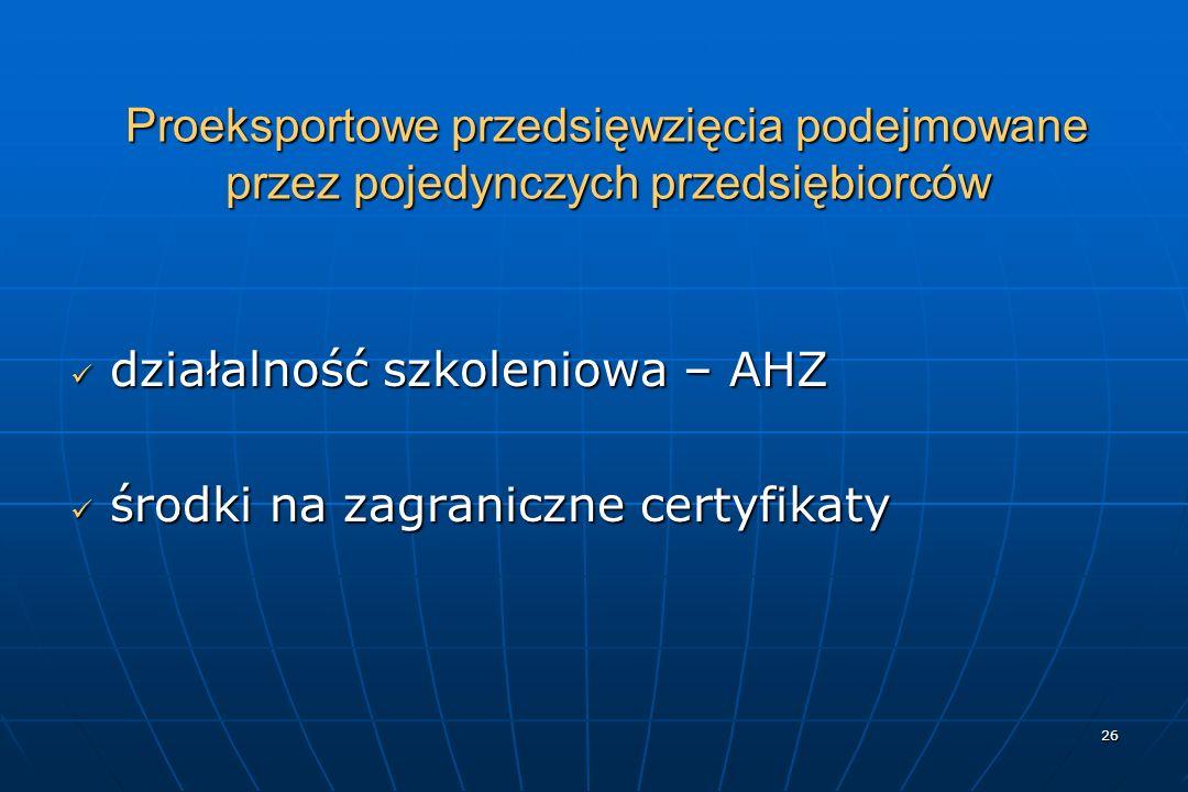 26 Proeksportowe przedsięwzięcia podejmowane przez pojedynczych przedsiębiorców działalność szkoleniowa – AHZ działalność szkoleniowa – AHZ środki na zagraniczne certyfikaty środki na zagraniczne certyfikaty