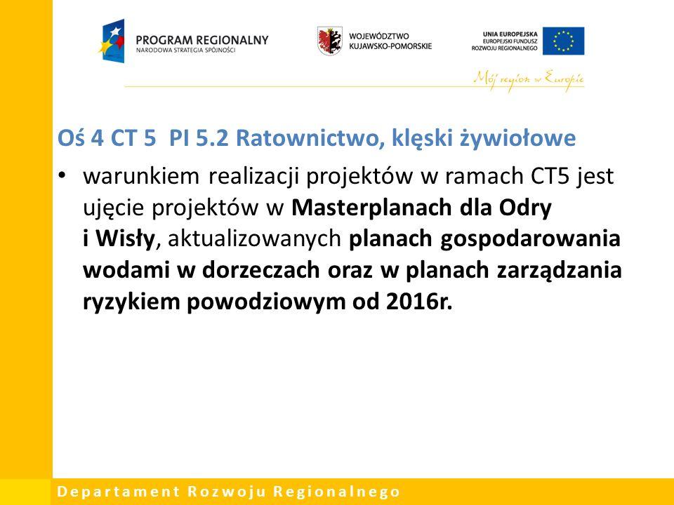 Departament Rozwoju Regionalnego Oś 4 CT 5 PI 5.2 Ratownictwo, klęski żywiołowe warunkiem realizacji projektów w ramach CT5 jest ujęcie projektów w Masterplanach dla Odry i Wisły, aktualizowanych planach gospodarowania wodami w dorzeczach oraz w planach zarządzania ryzykiem powodziowym od 2016r.