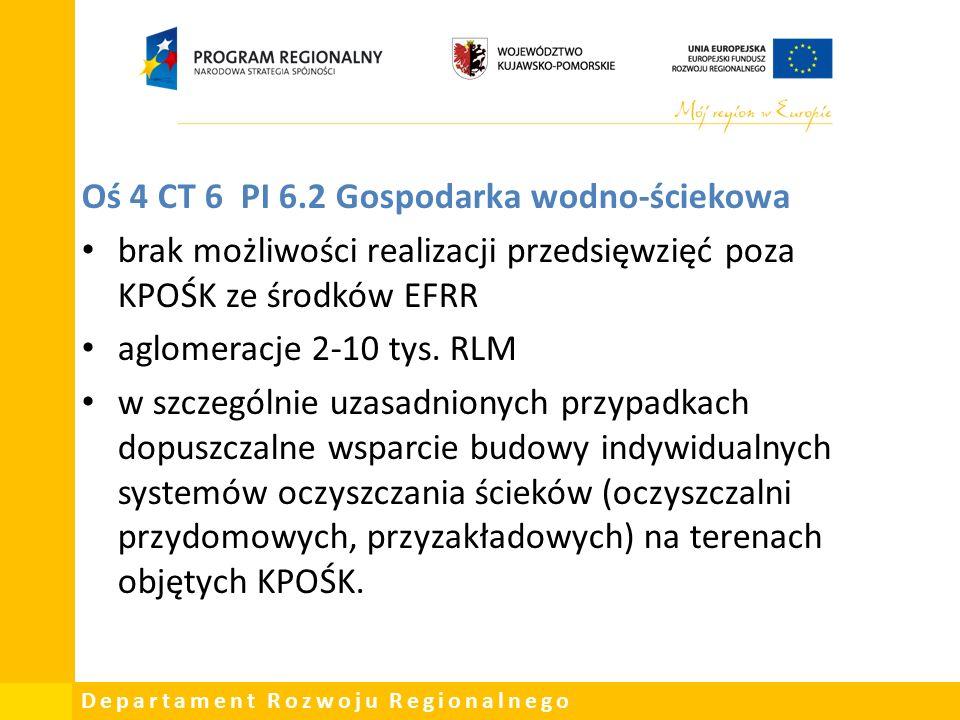 Departament Rozwoju Regionalnego Oś 4 CT 6 PI 6.2 Gospodarka wodno-ściekowa brak możliwości realizacji przedsięwzięć poza KPOŚK ze środków EFRR aglomeracje 2-10 tys.