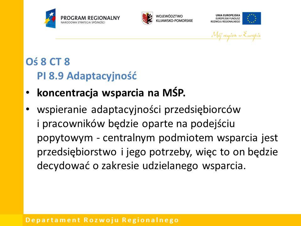 Departament Rozwoju Regionalnego Oś 8 CT 8 PI 8.9 Adaptacyjność koncentracja wsparcia na MŚP.