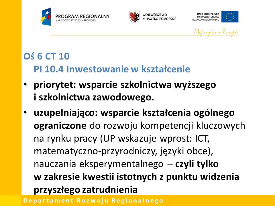 Departament Rozwoju Regionalnego Oś 6 CT 10 PI 10.4 Inwestowanie w kształcenie priorytet: wsparcie szkolnictwa wyższego i szkolnictwa zawodowego.