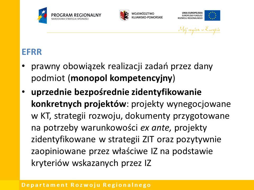 Departament Rozwoju Regionalnego EFRR prawny obowiązek realizacji zadań przez dany podmiot (monopol kompetencyjny) uprzednie bezpośrednie zidentyfikowanie konkretnych projektów: projekty wynegocjowane w KT, strategii rozwoju, dokumenty przygotowane na potrzeby warunkowości ex ante, projekty zidentyfikowane w strategii ZIT oraz pozytywnie zaopiniowane przez właściwe IZ na podstawie kryteriów wskazanych przez IZ