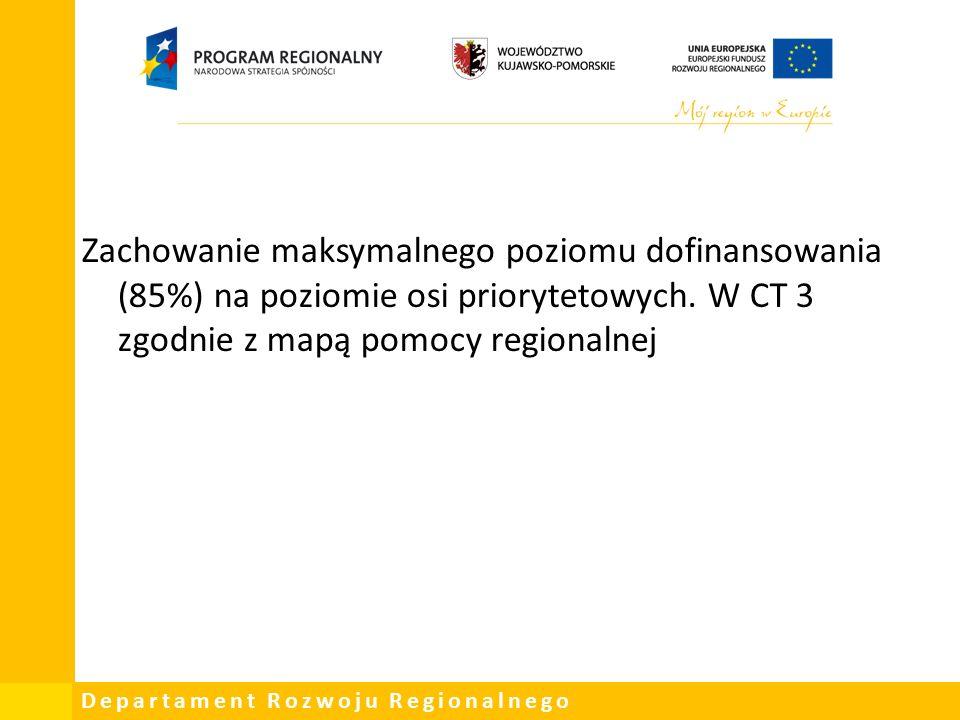 Departament Rozwoju Regionalnego Zachowanie maksymalnego poziomu dofinansowania (85%) na poziomie osi priorytetowych.