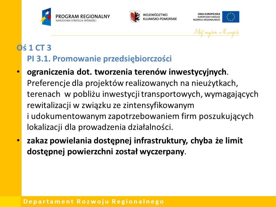 Departament Rozwoju Regionalnego Oś 1 CT 3 PI 3.1.
