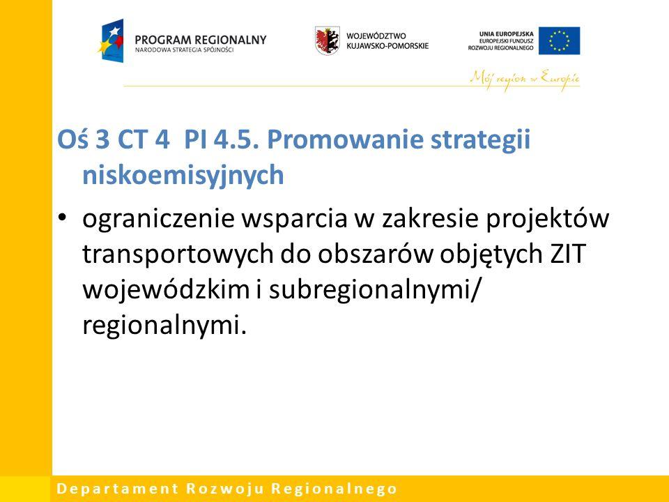 Departament Rozwoju Regionalnego Oś 3 CT 4 PI 4.5.