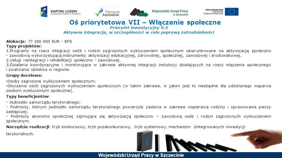 Wojewódzki Urząd Pracy w Szczecinie Oś priorytetowa VII – Włączenie społeczne Priorytet inwestycyjny 9.4 Aktywna integracja, w szczególności w celu poprawy zatrudnialności Alokacja: 77 180 000 EUR - EFS Typy projektów: 1.Programy na rzecz integracji osób i rodzin zagrożonych wykluczeniem społecznym ukierunkowane na aktywizację społeczno - zawodową wykorzystującą instrumenty aktywizacji edukacyjnej, zdrowotnej, społecznej, zawodowej i środowiskowej.